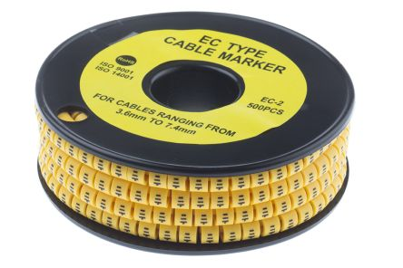 RS PRO Slide On Cable Marker, Pre-printed Earth Black on Yellow 3.6 → 7.4mm Dia. Range