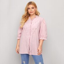 Plus Eyelet Embroidery Frill Trim Blouse
