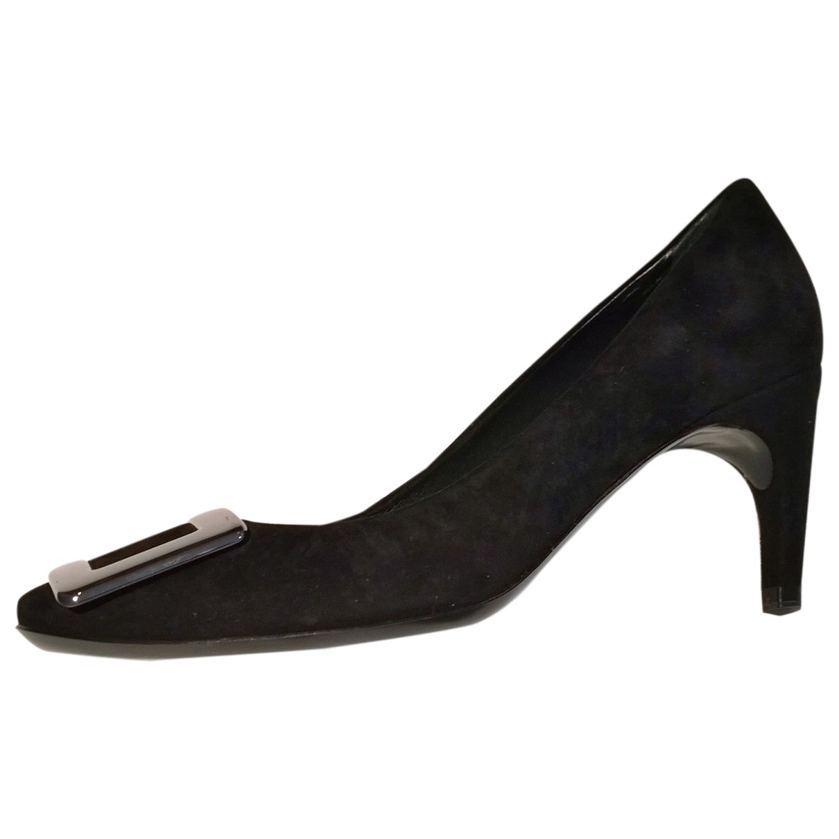 Roger Vivier Belle de Nuit Black Suede Heels for Women 35 IT