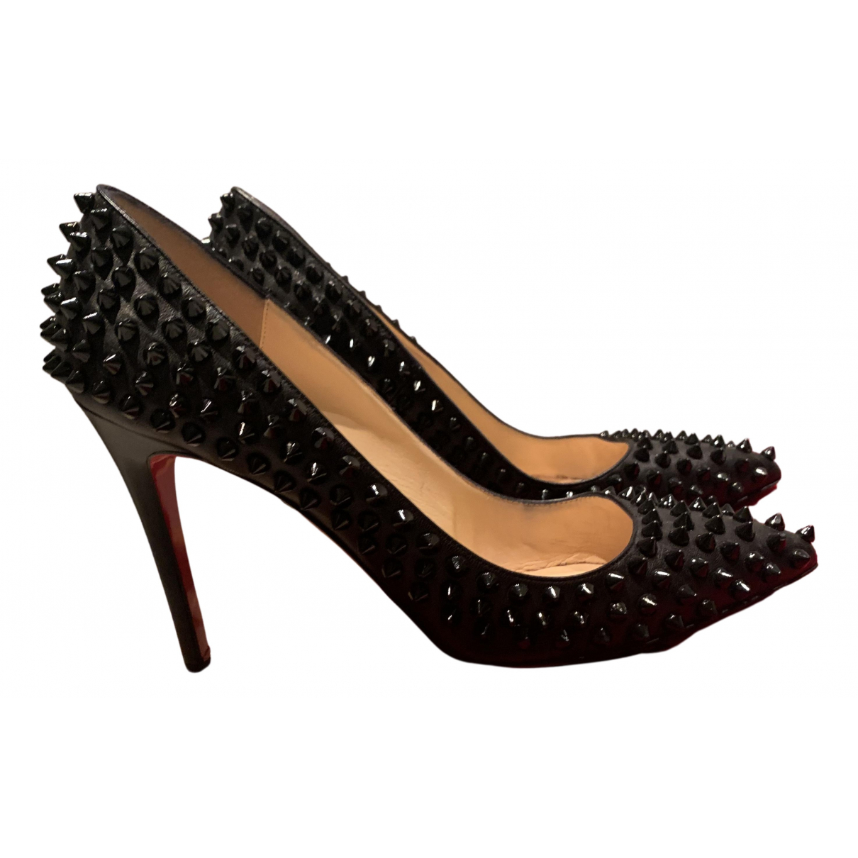 Christian Louboutin Pigalle Black Leather Heels for Women 37.5 EU