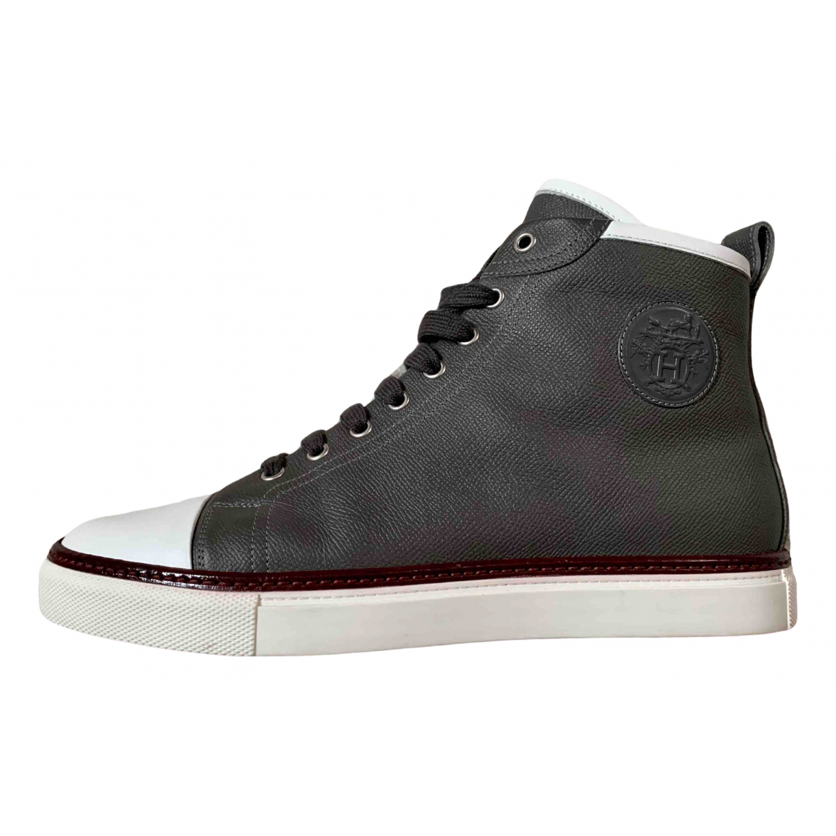Hermès \N Grey Leather Trainers for Men 41.5 EU