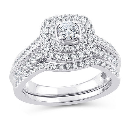 Womens 1 CT. T.W. Genuine White Diamond 10K White Gold Engagement Ring, 8 , No Color Family