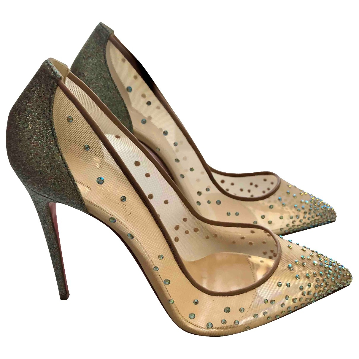 Christian Louboutin Degrastrass Silver Heels for Women 38 IT