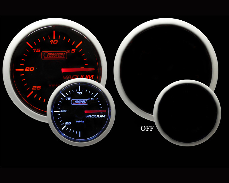 Prosport Performance Vacuum Only Gauge Mechanical Amber | White 52mm
