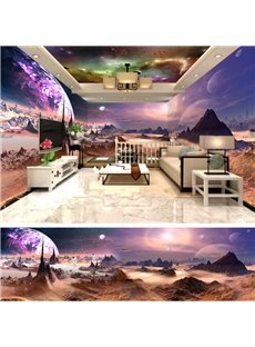 Stunning Creative Outer Space Scenery Pattern Design Combined 3D Ceiling and Wall Murals
