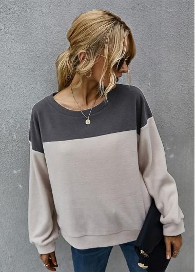 Round Neck Long Sleeve Contrast Sweatshirt - XL