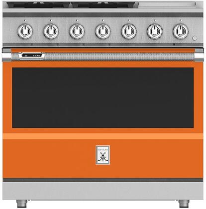 KRD364GDNGOR 36 Citra Orange Dual Fuel Natural Gas Range with 4 Sealed Burners  Simmer Flame  MarquiseDisplay  and