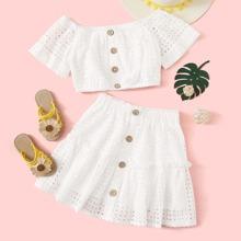 Girls Button Front Schiffy Bardot Top & Skirt Set