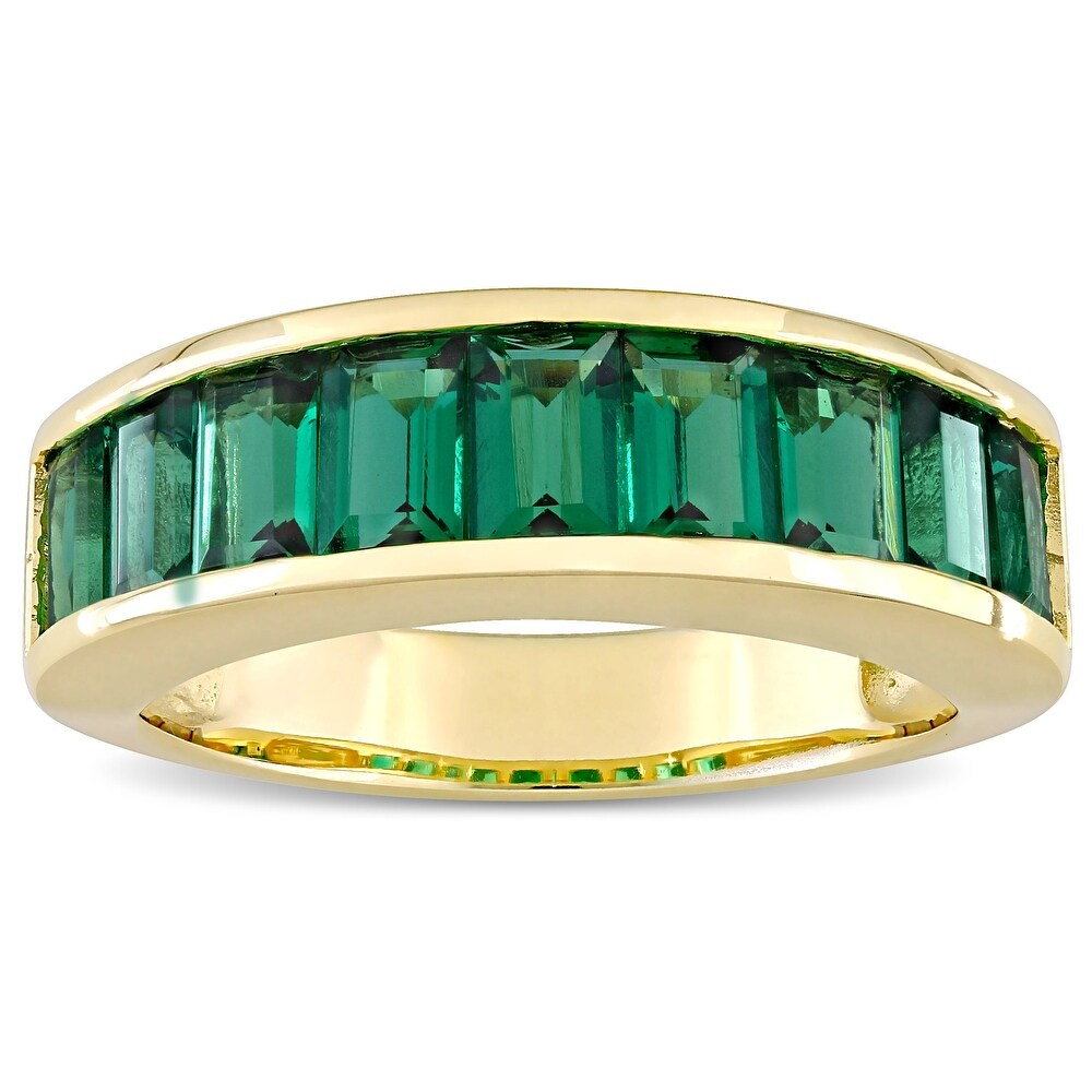 Miadora Yellow Plated Sterling Silver Baguette-cut Created Emerald Semi-Eternity Anniversary Band Ring (5)