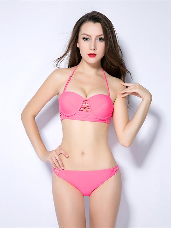 Crop Top Hollow out Bandage Halter Bikini Set
