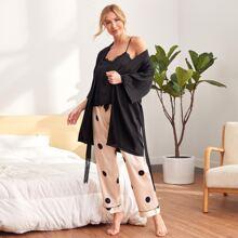 4 Stuecke Cami Top mit Spitzenbesatz & Satin Hose mit Punkten Muster & Kleid Set