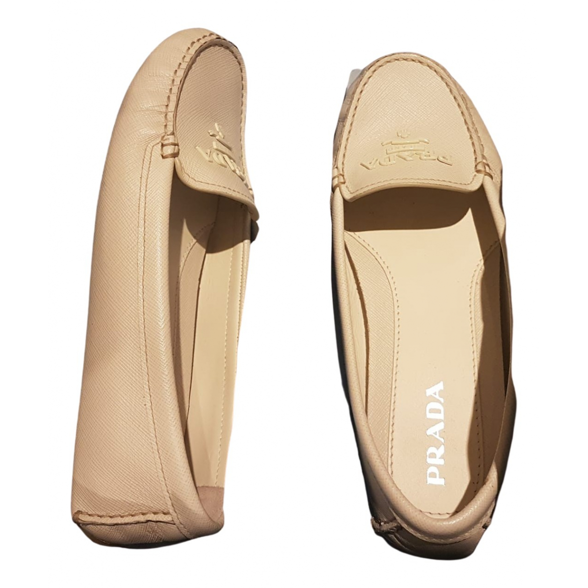 Prada N Beige Leather Flats for Women 37 EU