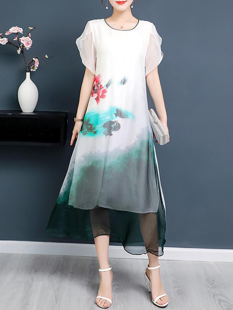 Elegant Short Sleeve Irregular Floral Dress
