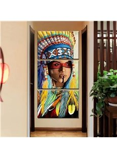 Indian Girl Pattern 3 Pieces Hanging Canvas Waterproof Eco-friendly Framed Prints