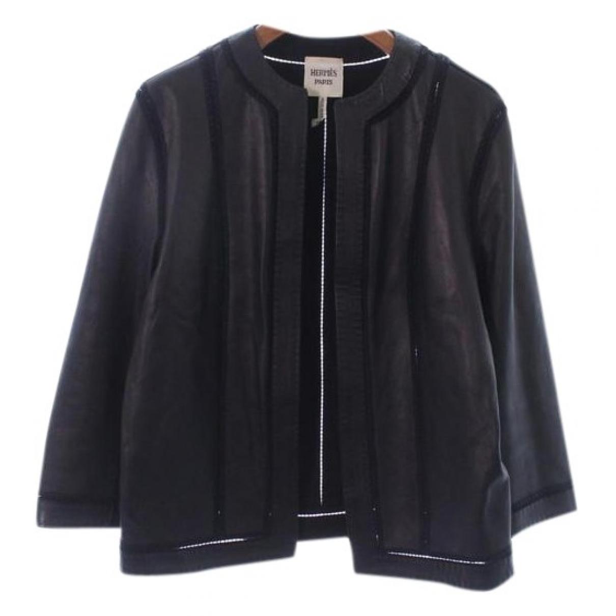 Hermes - Veste   pour femme en cuir - noir