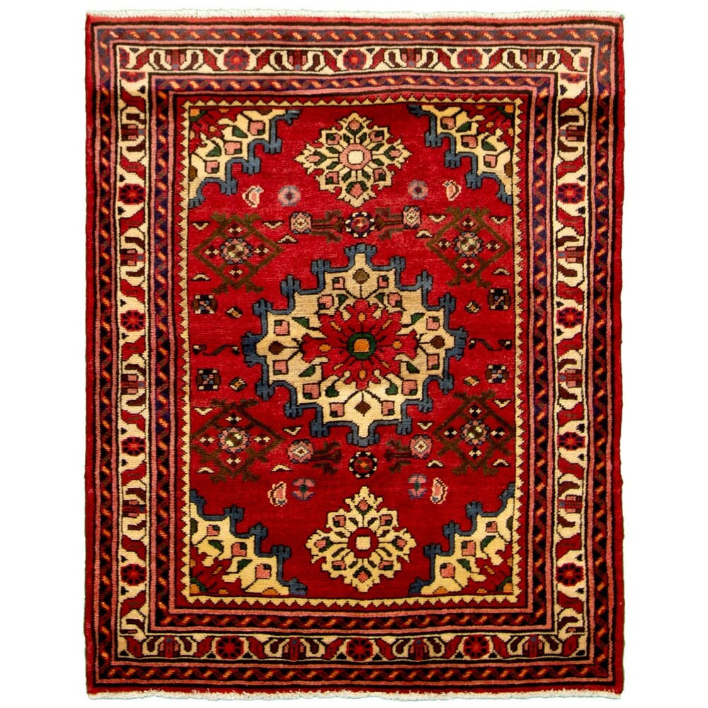 ECARPETGALLERY  Hand-knotted Hamadan Red Wool Rug - 3'6 x 4'7 (3'6 x 4'7 - Red)