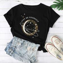 Galaxy And Slogan Print Tee