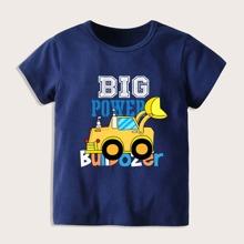 Toddler Boys Slogan & Car Print Tee