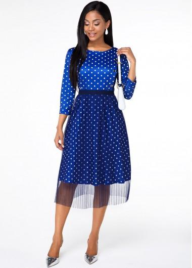 Party Dress Button Detail Polka Dot Round Neck Dress - L