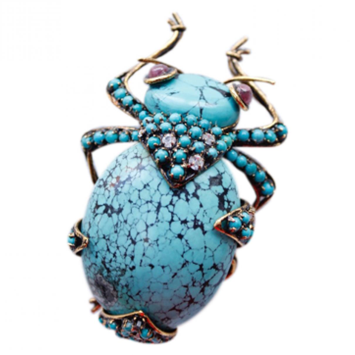 Non Signe / Unsigned Motifs Animaliers Brosche in  Blau Metall
