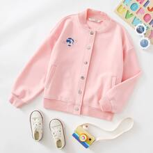 Girls Embroidery Planet Button Front Bomber Jacket