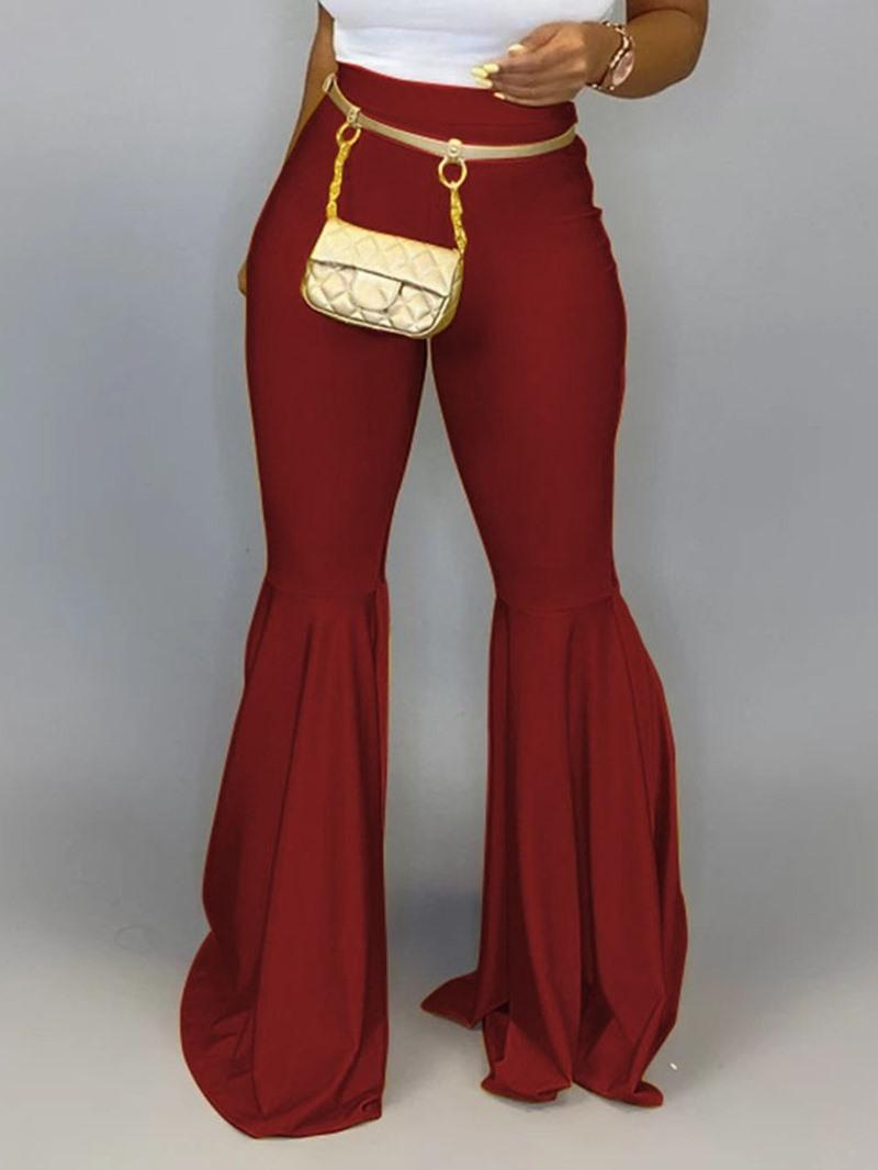 Ericdress Plain Slim Full Length Bellbottoms Casual Pants