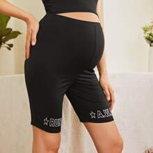 Maternity Letter Graphic Biker Shorts