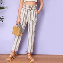 Pantalones de niñas con cinturon de rayas de cintura con volante