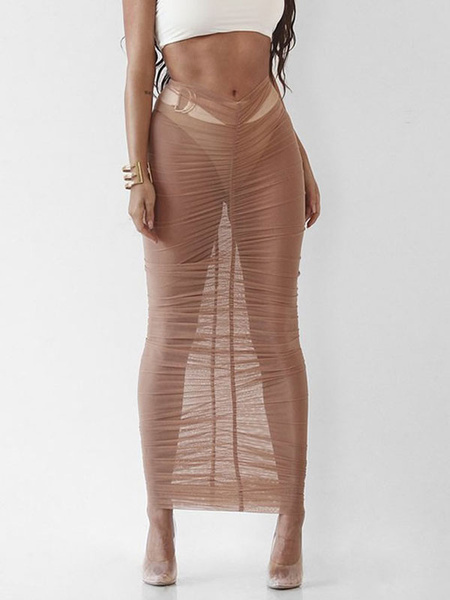 Milanoo Sheer Cover Ups Skirt For Women Summer Sexy Swimming Suits