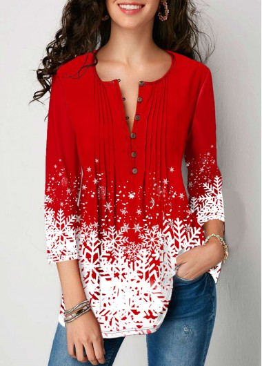 Women'S Red Snowflake Print Button Front Tunic Blouse  Three Quarter Sleeve Holiday Top By Rosewe - L