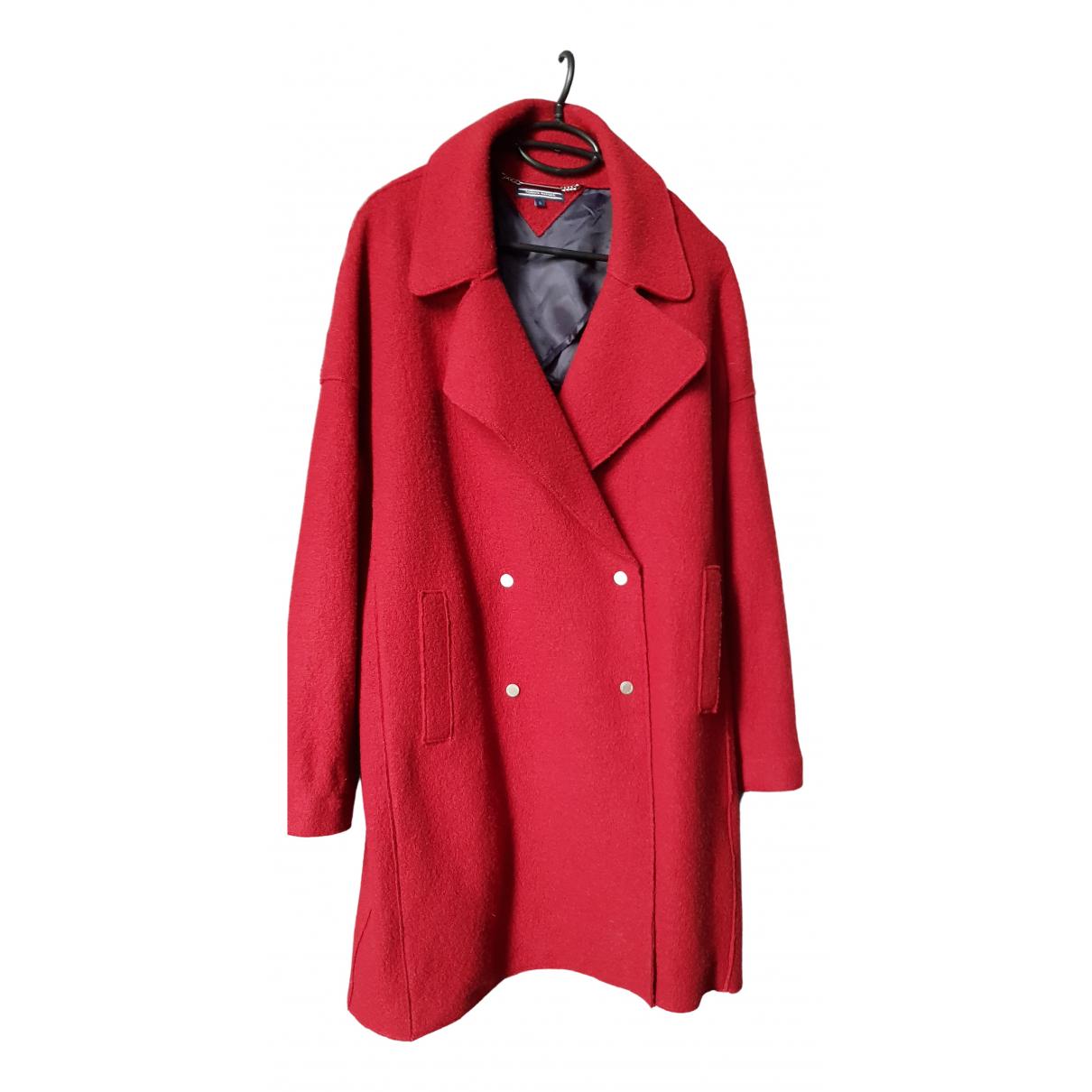 Tommy Hilfiger - Manteau   pour femme en laine - rouge