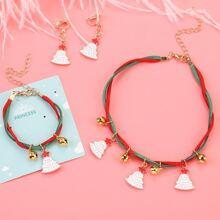 Kleinkind Maedchen Halskette & Armband & Ohrringe mit Weihnachtsbaum Dekor