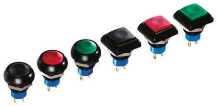 APEM Single Pole Double Throw (SPDT) Momentary Push Button Switch, IP67, 12.9 (Dia.)mm, Panel Mount, 24V dc