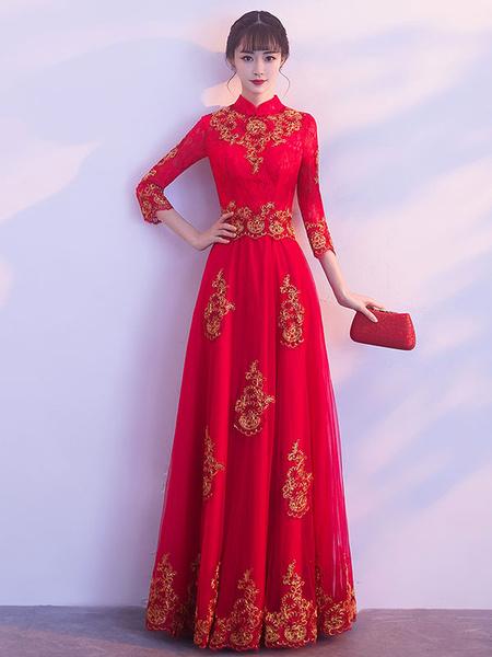 Milanoo Vestidos de fiesta largos Vestido formal largo de la longitud del piso de la manga del cuello de los vestidos de noche rojos