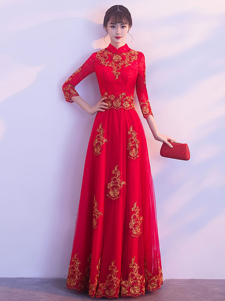 Milanoo Red Evening Dresses Stand Collar Long Sleeve Floor Length Formal Dress