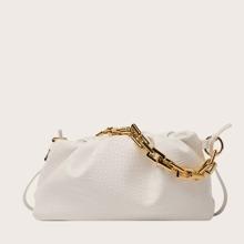 Crocodile Ruched Shoulder Bag