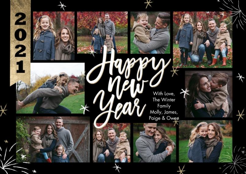New Years Photo Cards 5x7 Cards, Premium Cardstock 120lb, Card & Stationery -New Year 2021 Banner Collage by Tumbalina