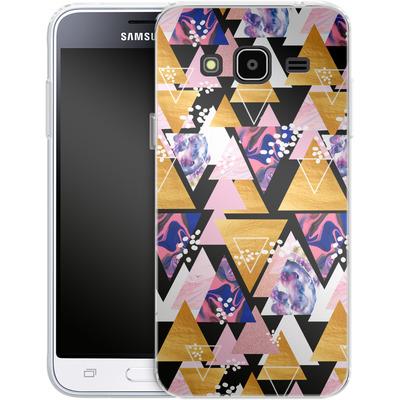 Samsung Galaxy J3 (2016) Silikon Handyhuelle - Blush Geo Black von Mukta Lata Barua