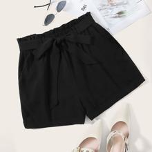Einfarbige Shorts mit Papiertasche Taille und Guertel