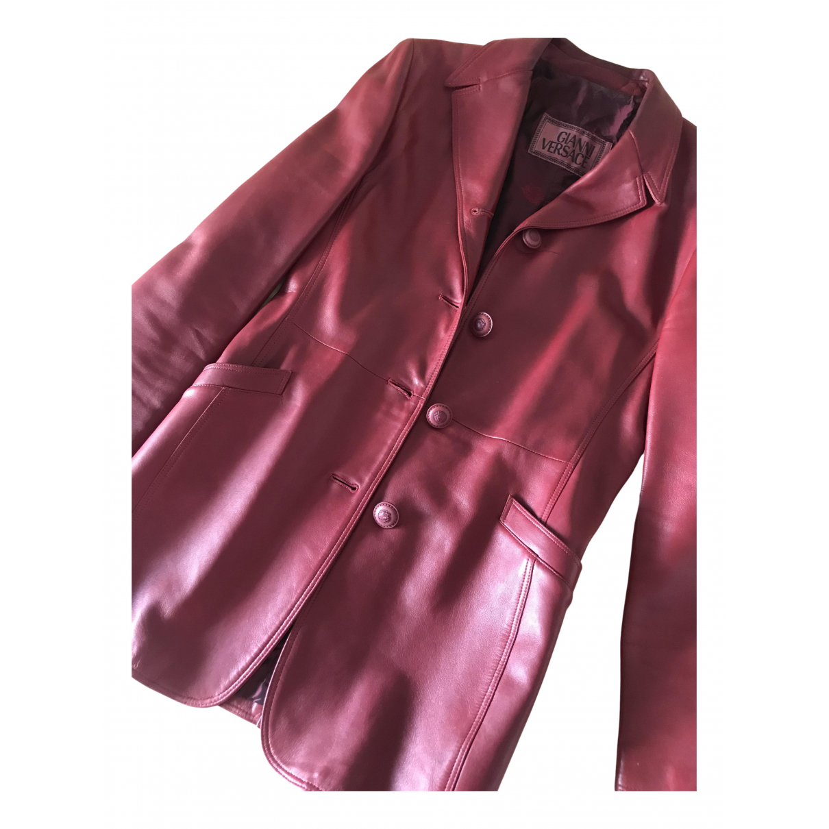 Gianni Versace N Burgundy Leather jacket for Women 42 IT