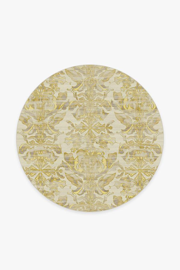 Washable Rug Cover & Pad | Transitional Damask Gold Rug | Stain-Resistant | Ruggable | 6' Round
