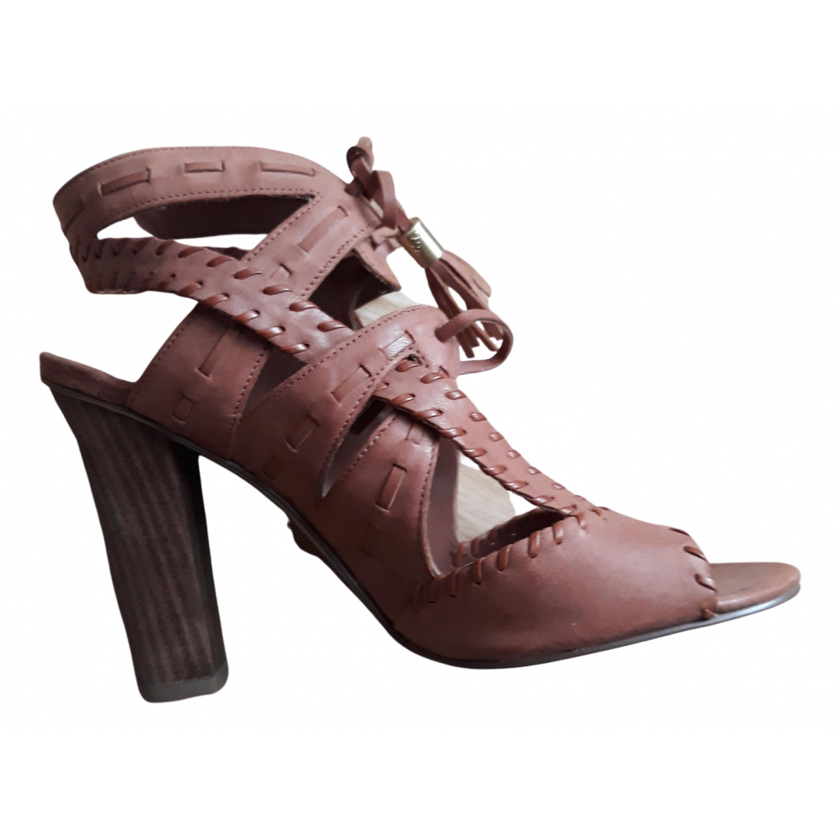 Guess N Brown Leather Heels for Women 37 EU