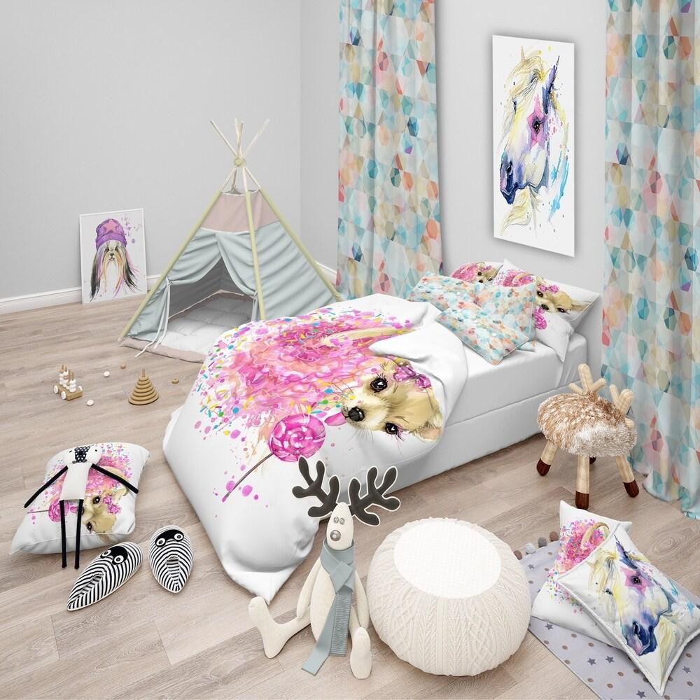 Designart 'Sweet Pink Dog without Glasses' Modern & Contemporary Bedding Set - Duvet Cover & Shams (Full/Queen Cover +2 Shams (comforter not