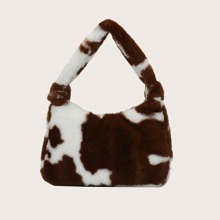 Bolso bandolero con pelo falso con estampado de vaca