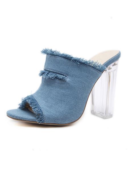 Milanoo High Heel Sandals Womens Denim Peep Toe Clear Heel Mules