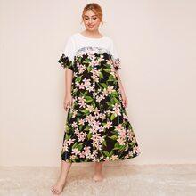 Plus Colorblock Lace Trim Floral Print Nightdress