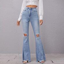 High Waist Raw Hem Ripped Flare Jeans