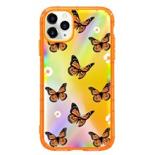 2pcs Butterfly Print Clear iPhone Case & Laser Film