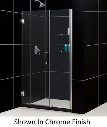 SHDR-20527210S-04 Unidoor 52-53 In. W X 72 In. H Frameless Hinged Shower Door With Shelves In Brushed