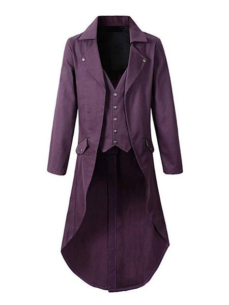 Milanoo Men Vintage Coat Vintage Buttons High Low Tuxedo Retro Costumes